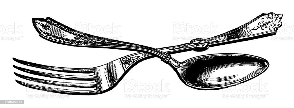 Vintage Clip Art and Illustrations | Antique Fork & Spoon royalty-free stock vector art