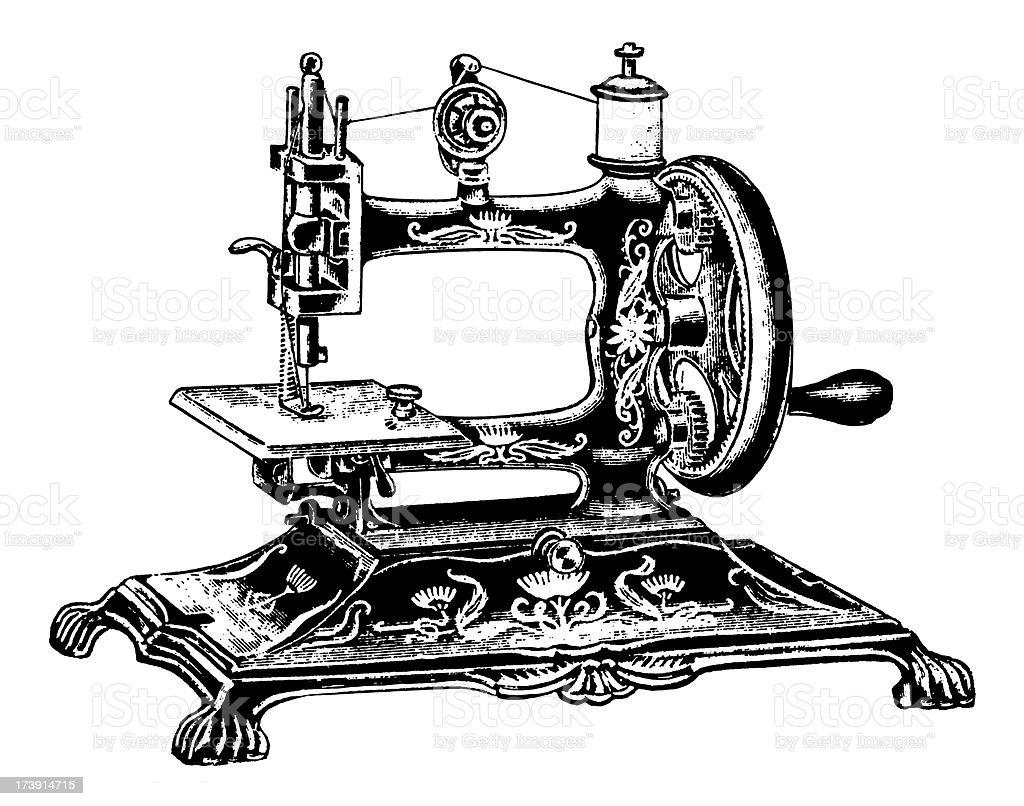 Vintage Clip Art and Illustrations | Antique Sewing Machine vector art illustration