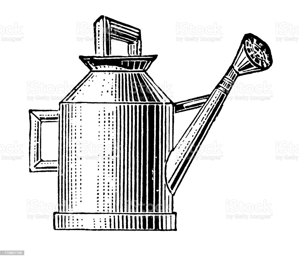 Vintage Clip Art and Illustrations | Antique Watering Can royalty-free stock vector art