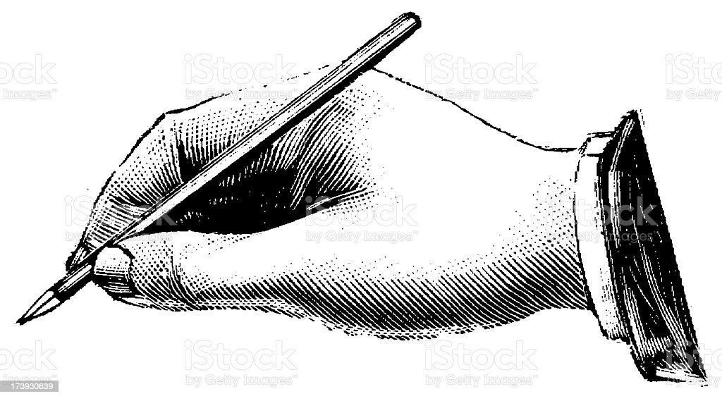 Vintage Clip Art et Illustrations/Main tenant un stylo - Illustration vectorielle