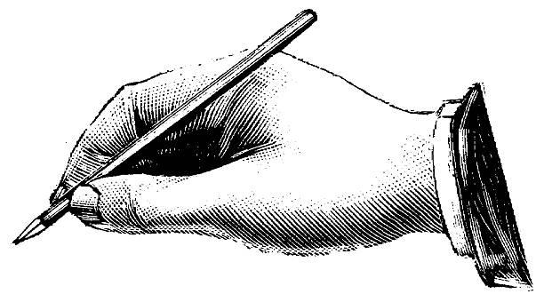 Vintage Clip Art et Illustrations/Main tenant un stylo - Illustration vectorielle