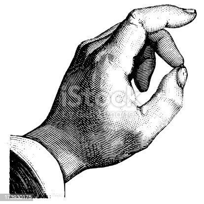 Antique engraving of a human hand, isolated on white. Very high XXXL resolution image scanned at 600 dpi.