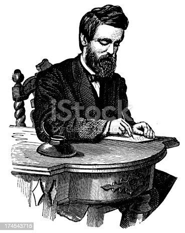 Antique engraving of a man, writing on a desk (isolated on white). Very high XXXL resolution image scanned at 600 dpi. Published in Specimens des divers caract