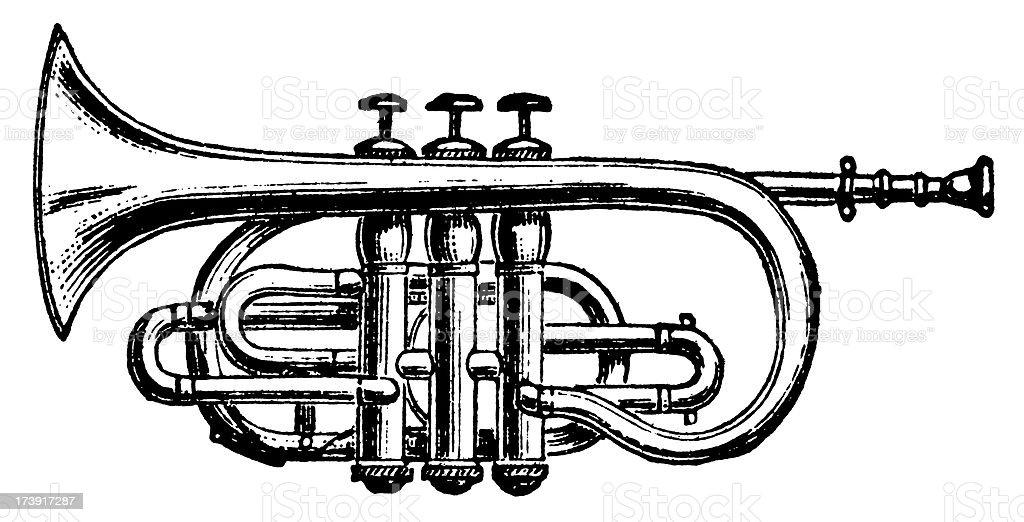 Vintage Clip Art and Illustrations   Trumpet vector art illustration