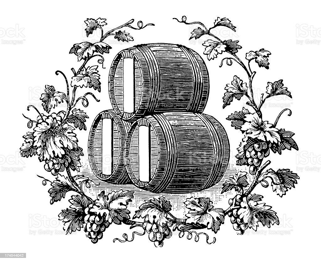 Vintage Clip Art and Illustrations | Wine Vignette royalty-free stock vector art