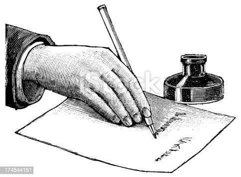Antique engraving of a man, writing on a desk (isolated on white). Very high XXXL resolution image scanned at 600 dpi.