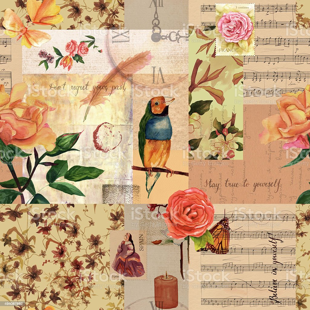 Ilustración de Collage De Vintage Con Rosas Y Hoja De Música De ...