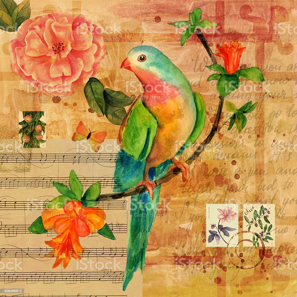 Ilustración de Collage De Vintage Con Hoja De Partitura Mariposa ...