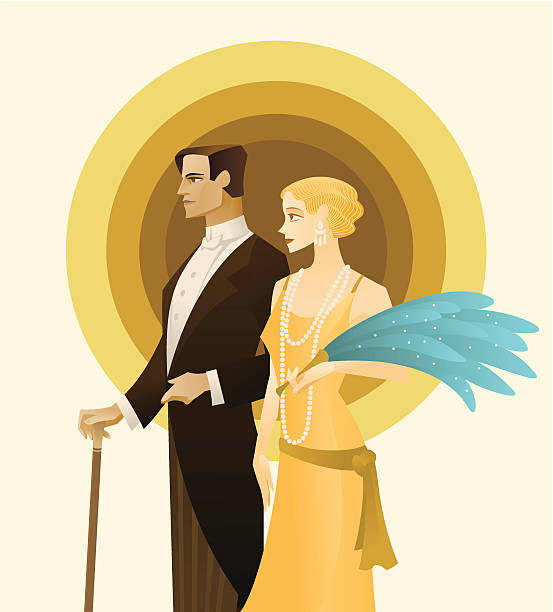 vintage couple. roaring twenties - 1920s style stock illustrations, clip art, cartoons, & icons