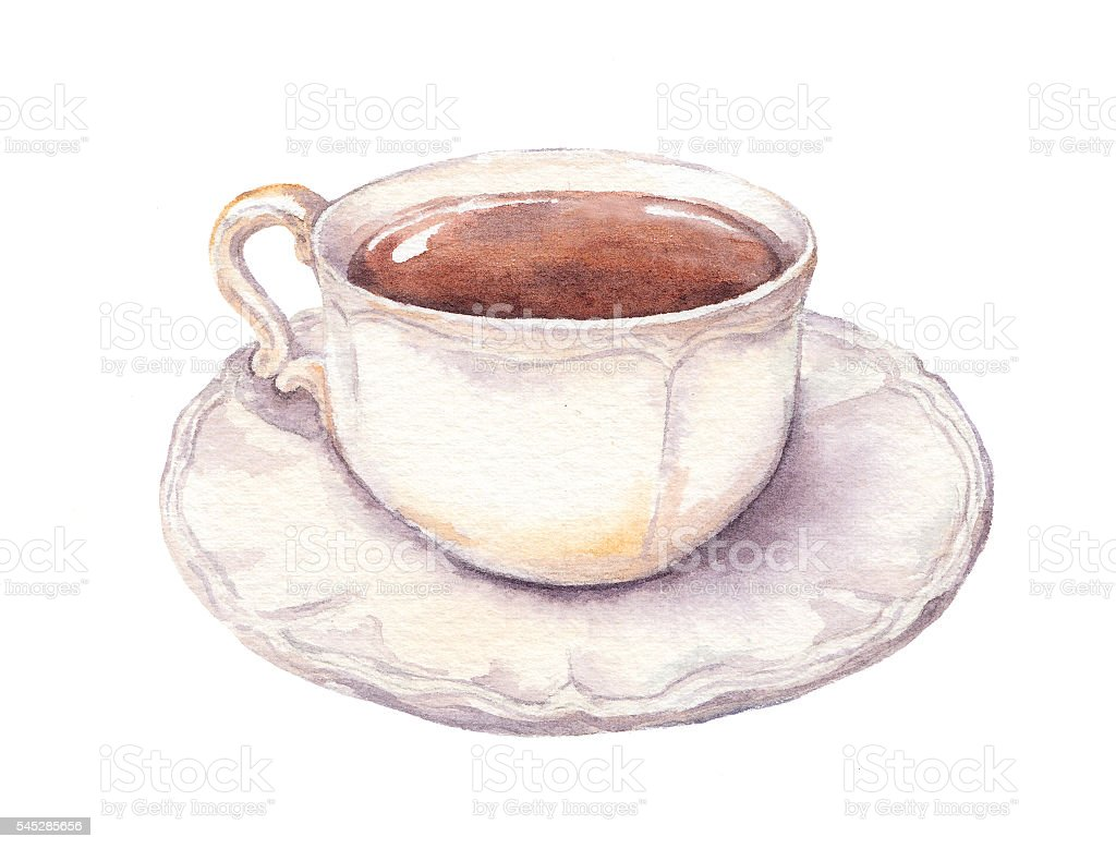 Vintage cup and saucer in provence style with tea or stock for Coffee watercolor
