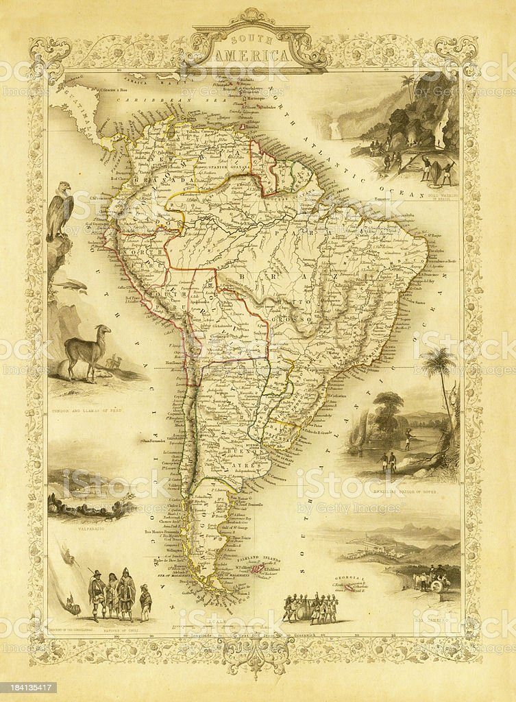 Vintage Decorative Map of South America (XXXL Resolution Image) vector art illustration