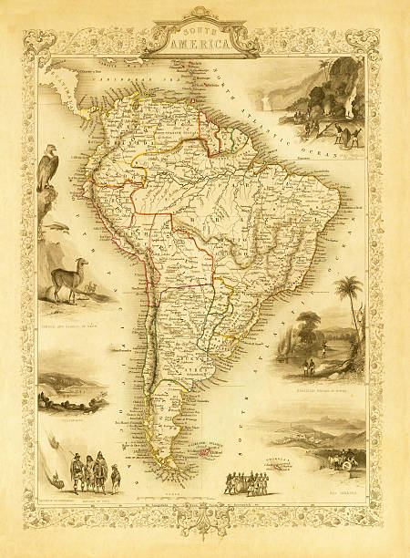 vintage decorative map of south america (xxxl resolution image) - south america maps stock illustrations, clip art, cartoons, & icons