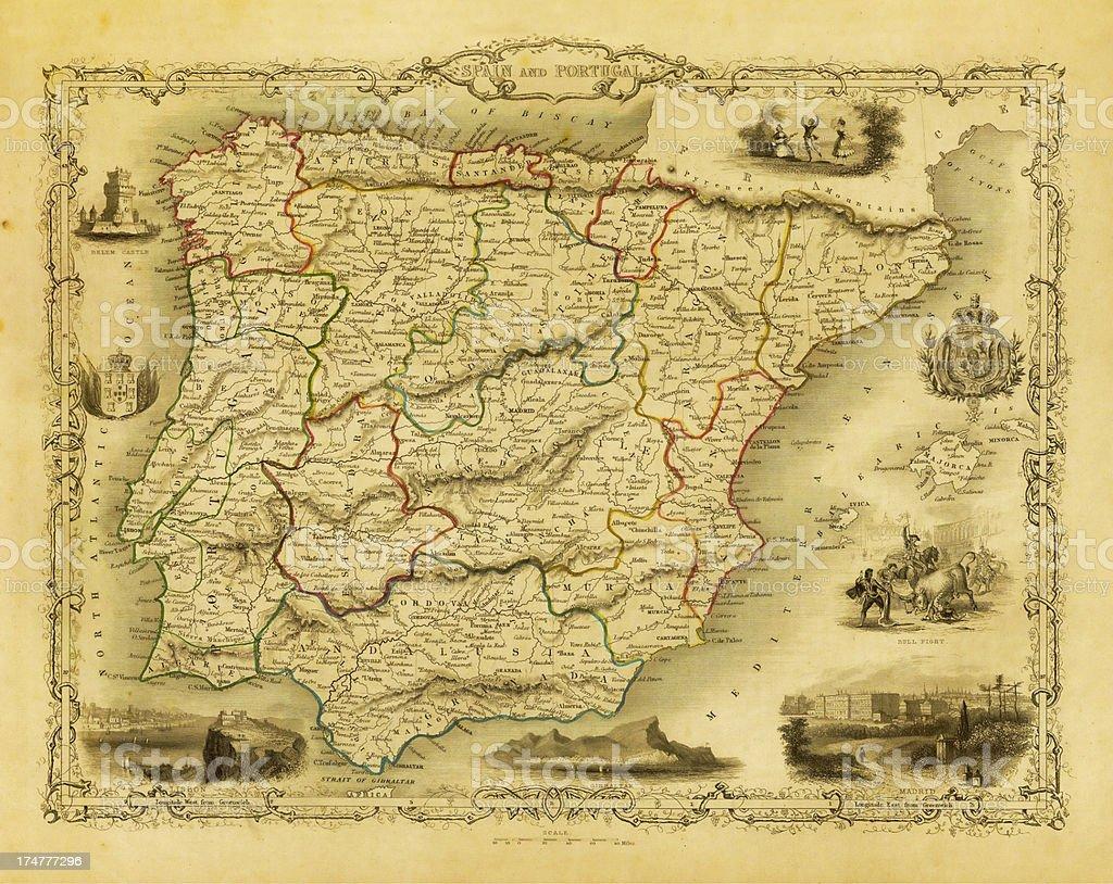 Karte Andalusien Portugal.Vintage Dekorative Karte Von Spanien Und Portugal Stock Vektor Art