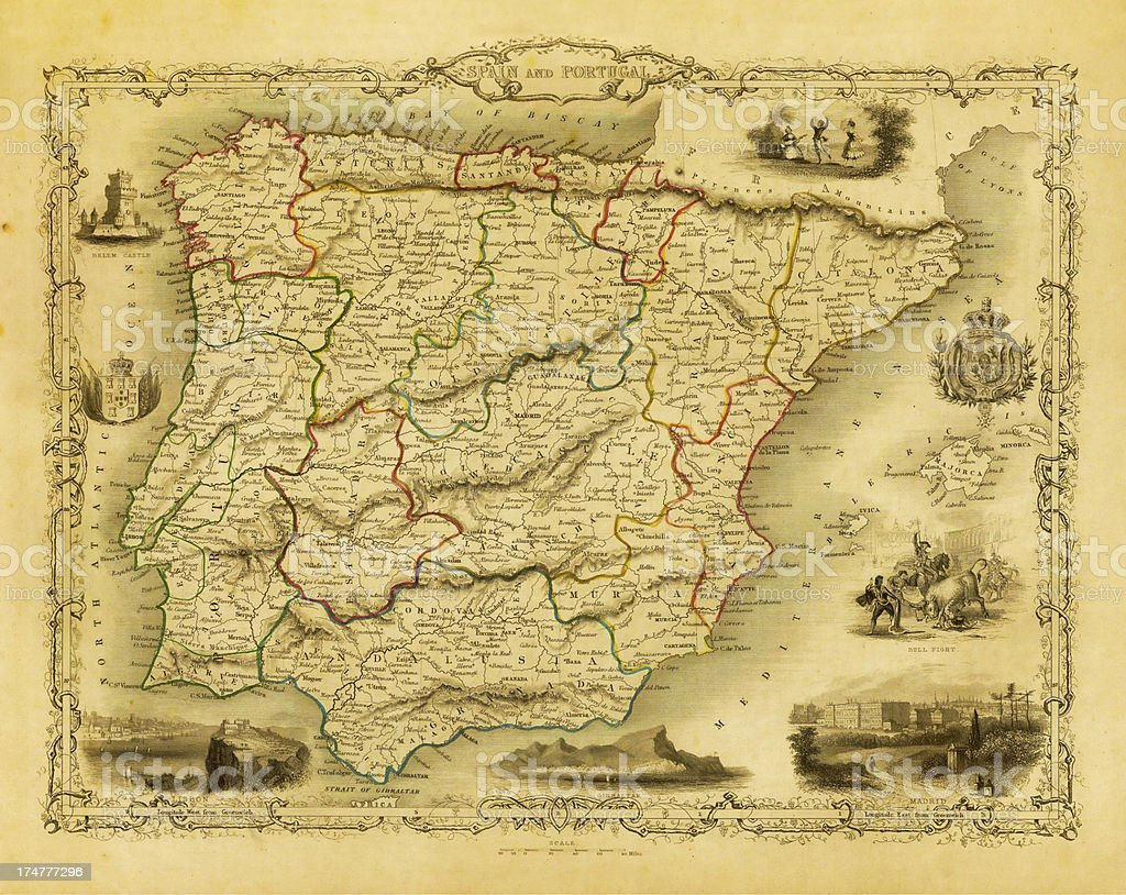 Vintage Decorative Map of Spain and Portugal (XXXL Resolution Image) vector art illustration