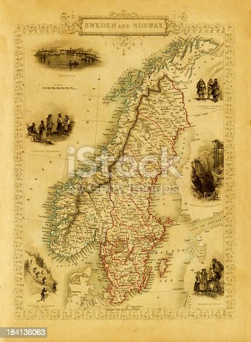 istock Vintage Decorative Map of Sweden and Norway (XXXL Resolution Image) 184136063