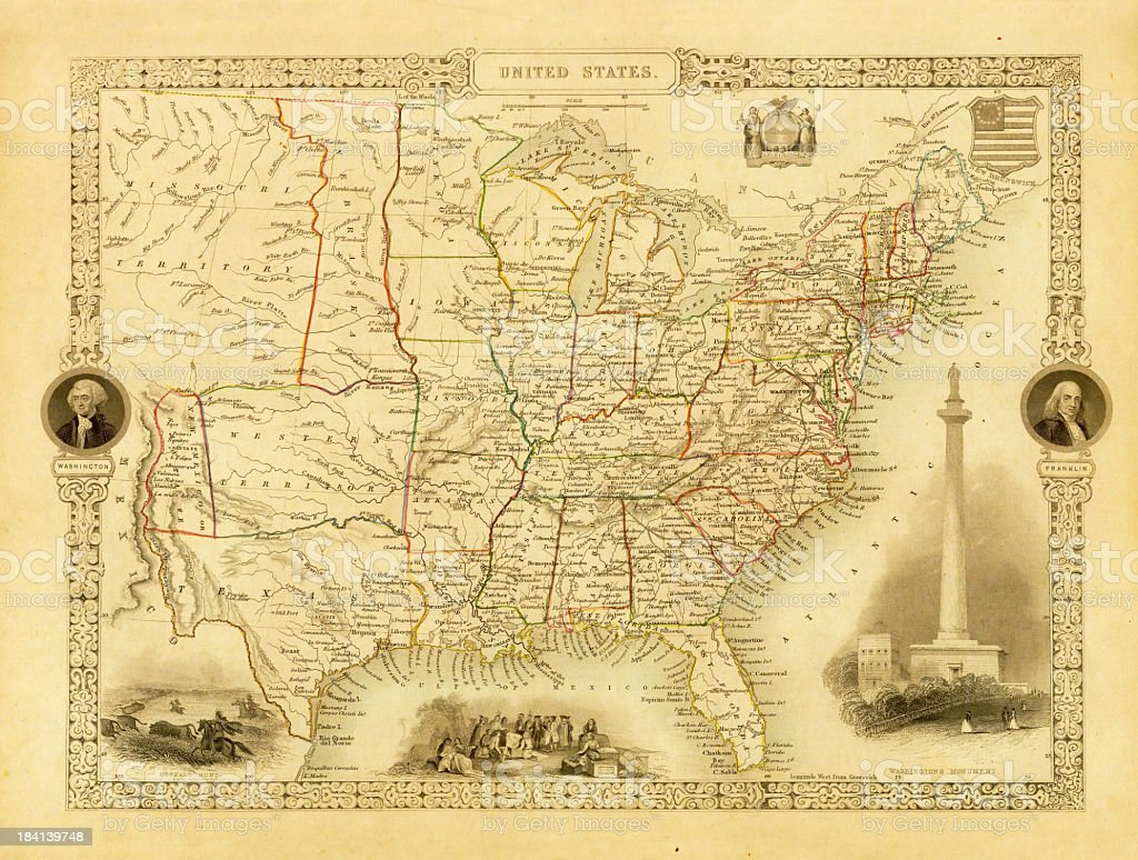 Vintage Decorative Map of USA (XXXL Resolution Image) vector art illustration