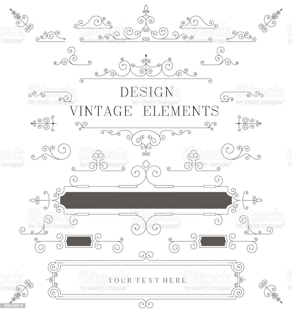 vintage design template borders retro elements frame for invitation