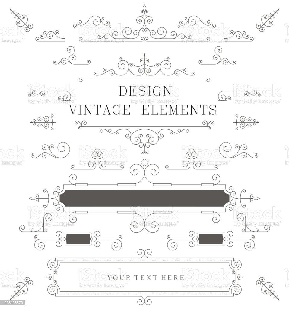 Vintage design template, borders, retro elements, Frame, for invitation illustration vector art illustration