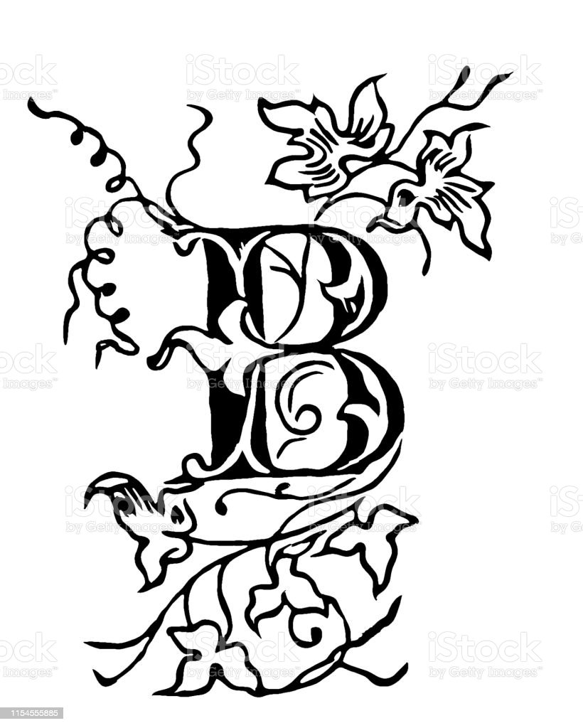 Vintage Drawing Of Decorative Capital Letter B With Floral