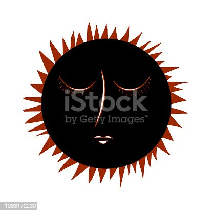 istock Vintage Eclipse hand drawn with rays. 1033172230
