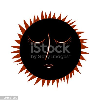istock Vintage Eclipse hand drawn with rays. Image of the sun in the style of medieval engravings. Illustration 1093651260