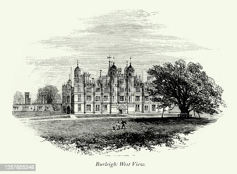 istock Vintage, English Victorian Engraving, Burleigh Hall, West View, Leicestershire, England, 1875 1257655346