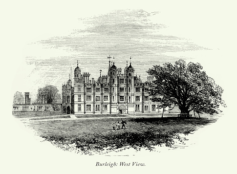 Very Rare, Beautifully Illustrated Antique English Victorian Engraving, Burleigh Hall, Leicestershire, England, 1875. Source: Original edition from my own archives. Copyright has expired on this artwork. Digitally restored.