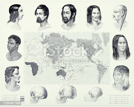 istock Vintage Engraved Antique, Varieties of Mankind Engraving Antique Illustration, Published 1851 1255467359