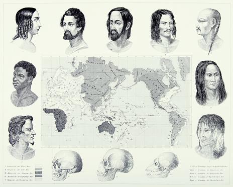 Vintage Engraved Antique, Varieties of Mankind Engraving Antique Illustration, Published 1851