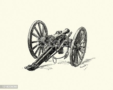 Vintage engraving of a Old cannon
