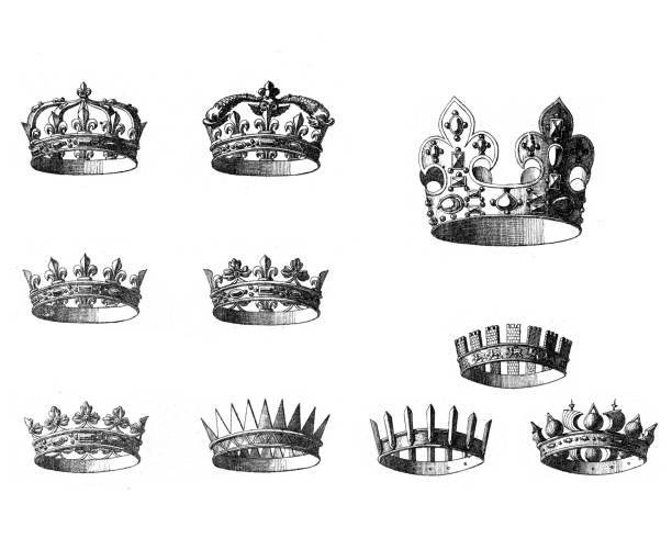 Vintage engraving of crowns vector art illustration