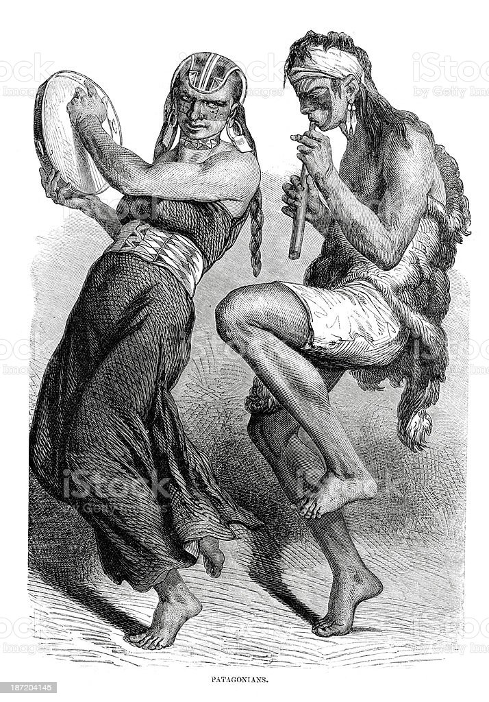 Vintage engraving of dancing Patagonian natives royalty-free stock vector art