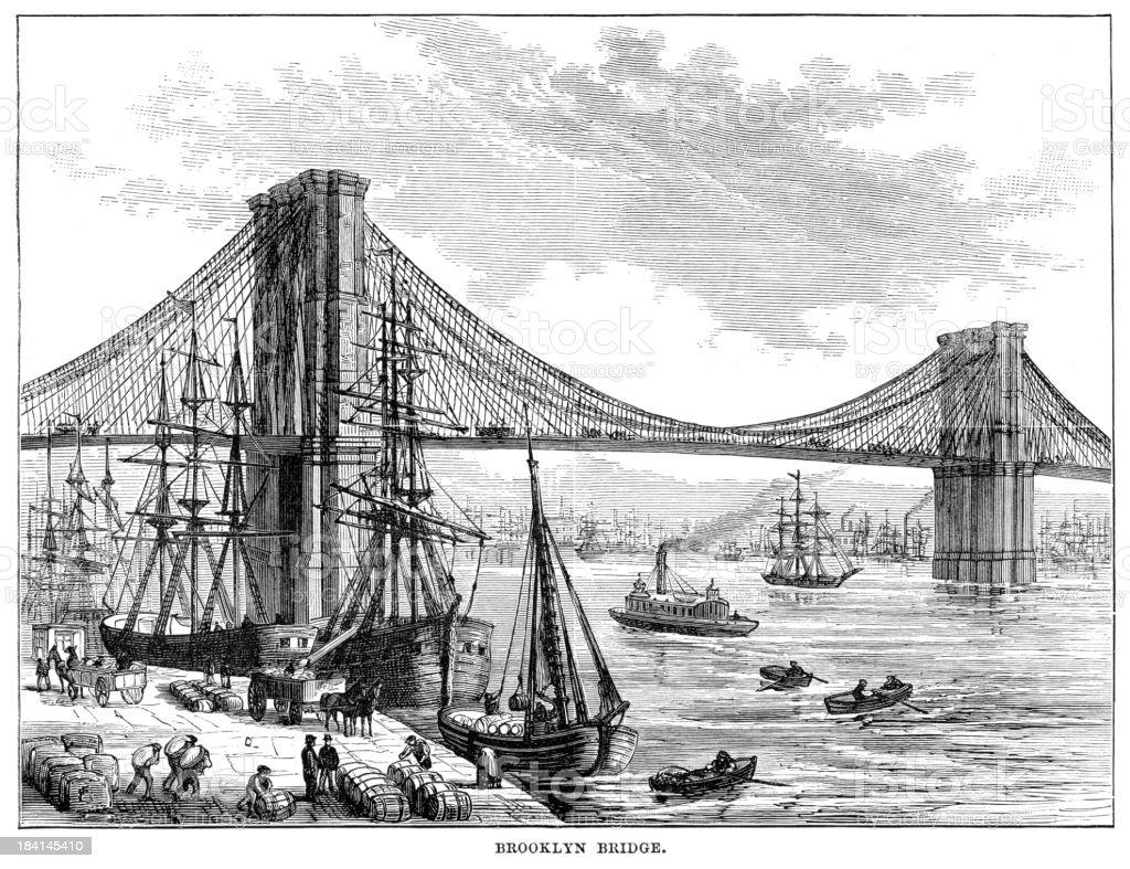 1878 vintage engraving of ships by Brooklyn Bridge vector art illustration