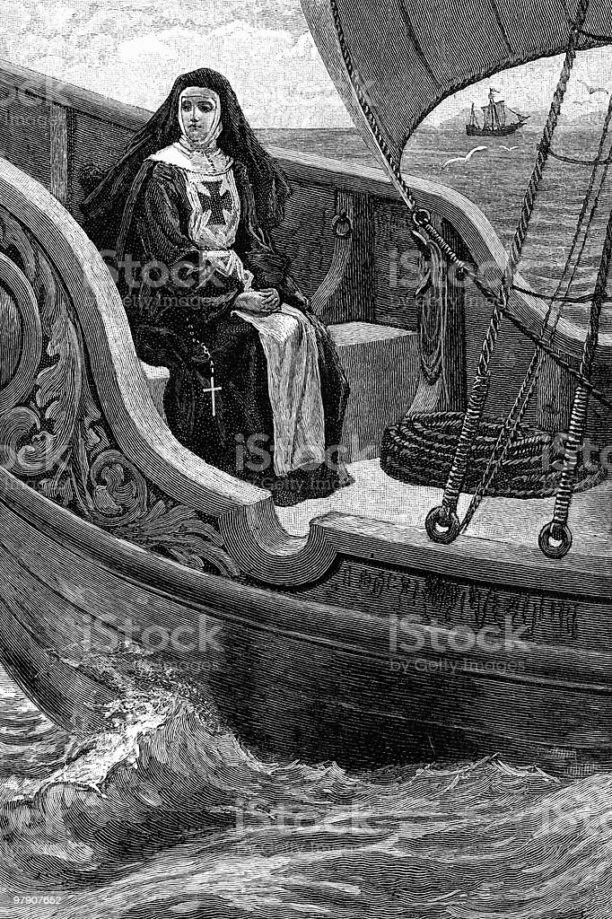 Vintage Engraving of Sister Clare on a Ship royalty-free vintage engraving of sister clare on a ship stock vector art & more images of 19th century style