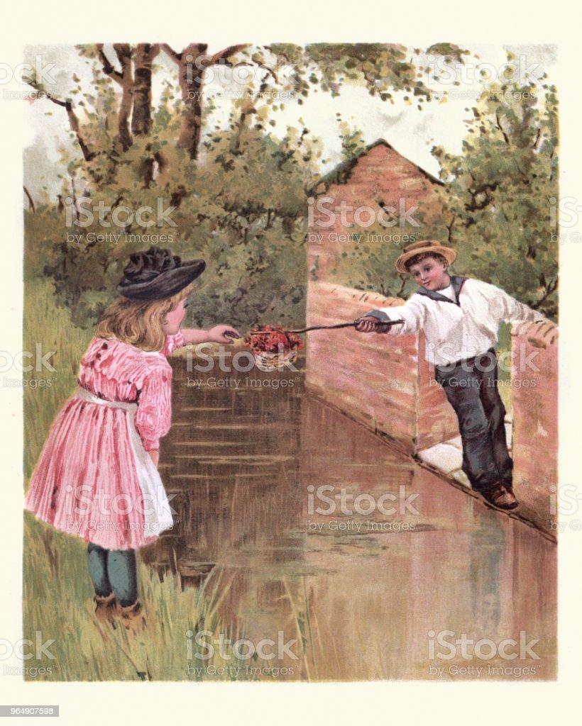 年輕男孩通過籃子花對女孩在小河 - 免版稅1890-1899插圖檔