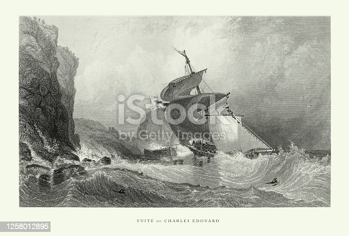 istock Vintage, Escape of Charles Edward, English Victorian Engraving, 1840 1258012895