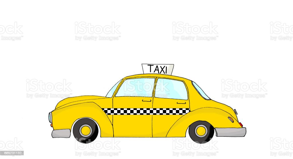 Vintage fantasy yellow cab vector art illustration