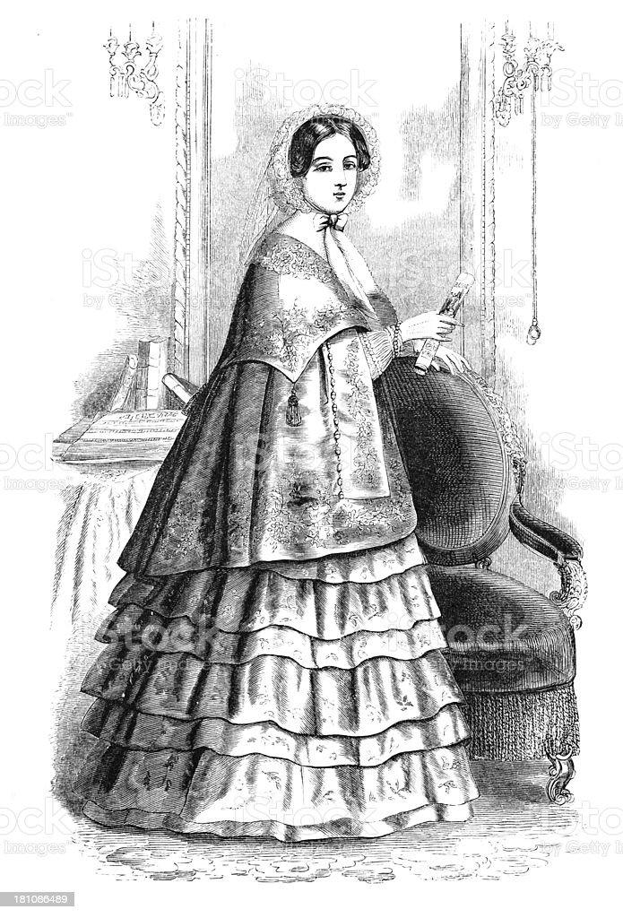 Vintage Fashion Engraving of Promenade Costume royalty-free stock vector art