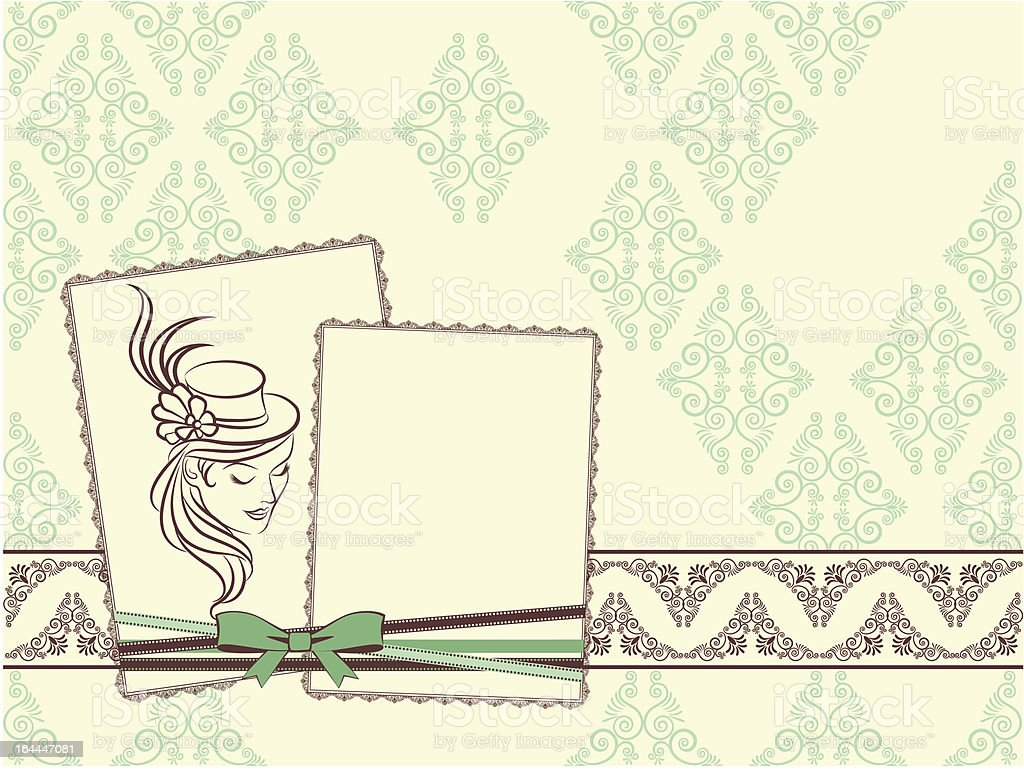 Vintage fashion girl in hat on tapestry background. Vector royalty-free stock vector art