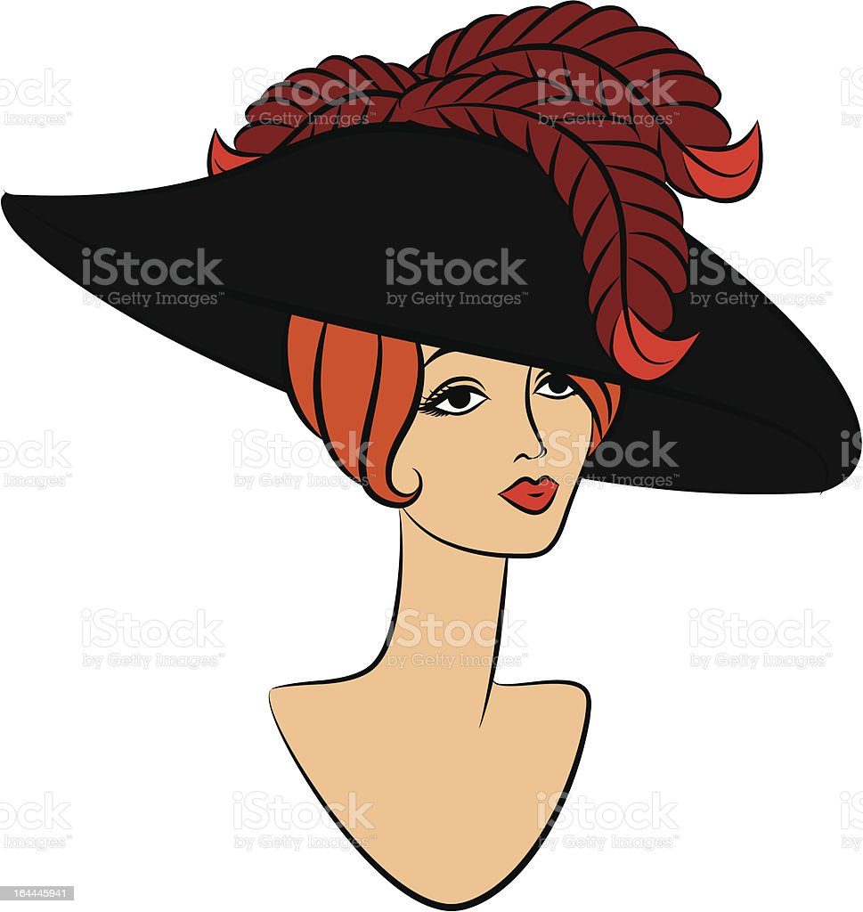 Vintage fashion girl in hat. Vector royalty-free stock vector art