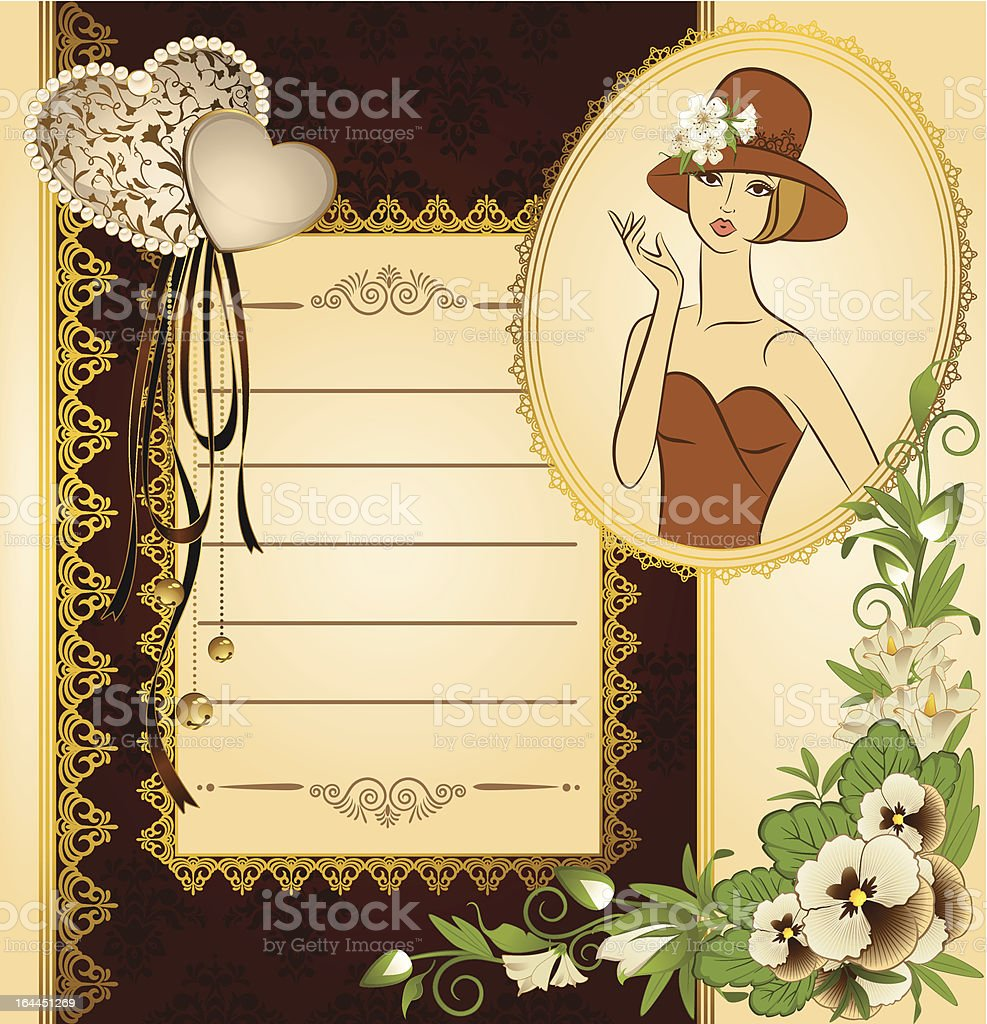 Vintage fashion woman with flowers on ornament background. Vector royalty-free stock vector art