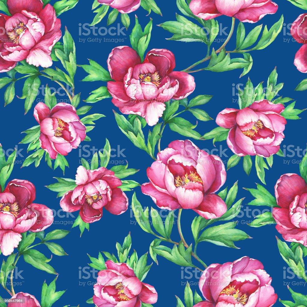 Vintage Floral Seamless Pattern With Flowering Pink Peonies On Dark Blue Background Elegance Watercolor