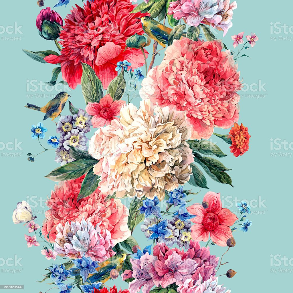 Vintage floral seamless watercolor peonies border vector art illustration