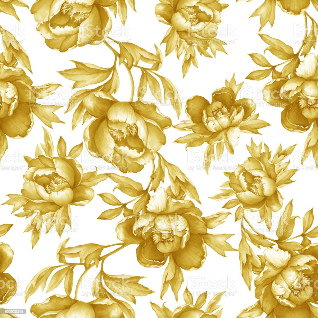 Vintage Floral Seamless Yellow Monochrome Pattern With Flowering