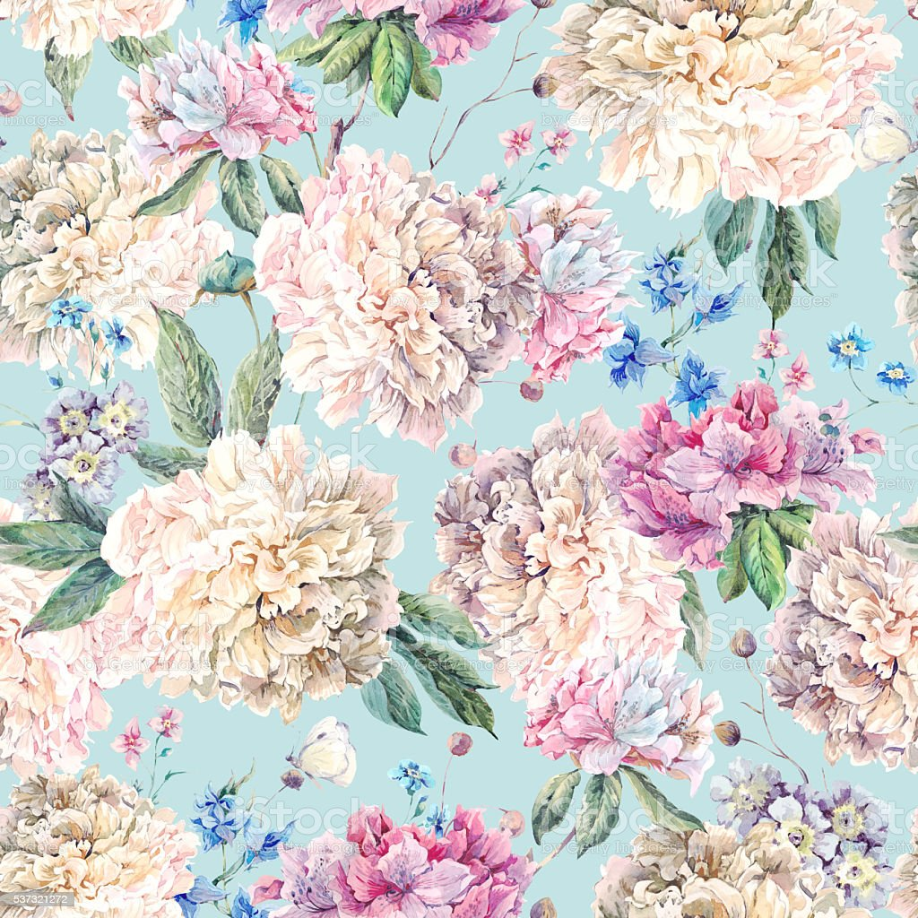 Vintage Floral Watercolor Seamless Pattern With White ...