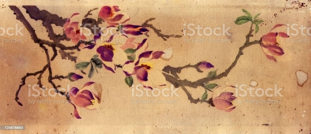 Vintage Flower Print Paper Texture royalty-free stock vector art