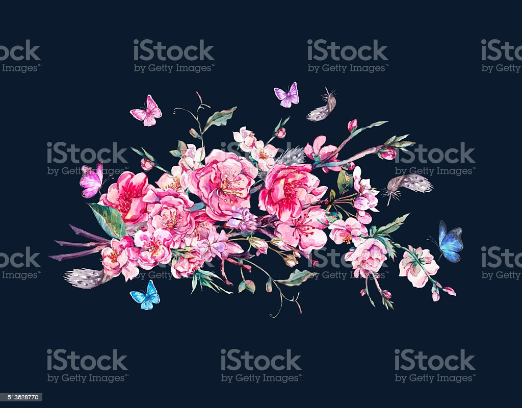 Vintage Flowers Bouquet With Pink Blooming Branches Of Cherry Stock ...