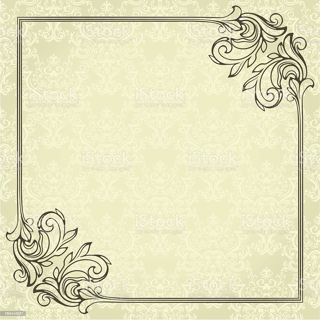 Vintage frame on seamless damask background royalty-free vintage frame on seamless damask background stock vector art & more images of backgrounds