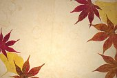 Vintage frame with autumnal leaves on ancient sepia paper.