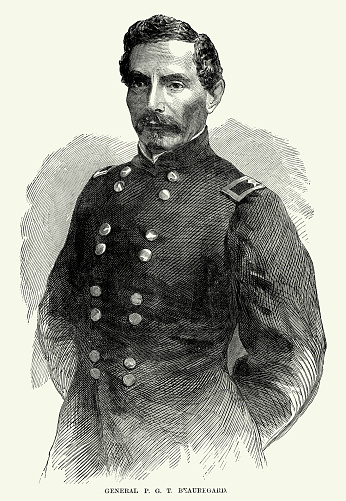 Engraving of Battle of General P.G.T. Beauregard Civil War Engraving from